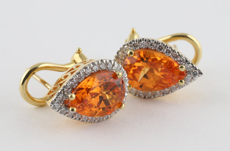 Pear Shaped Orange Garnet Earrings