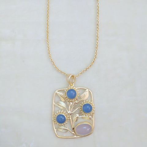 pink and blue semi precious stone handcrafted floral necklace