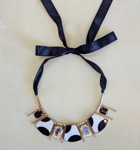 black and white stone big necklace