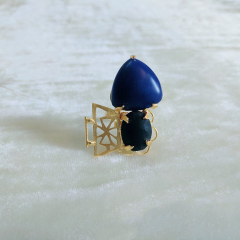 blue and black semi precious stone handcrafted ring