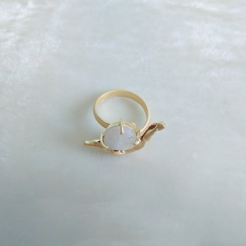 white precious stone handcrafted ring