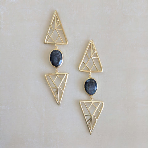 grey handcrafted semi precious stone geometric earrings