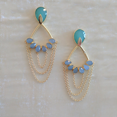green and blue stone long ethnic earrings