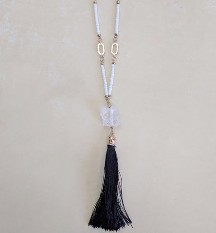 black and white long tassel necklace