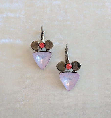 pink stone party earrings