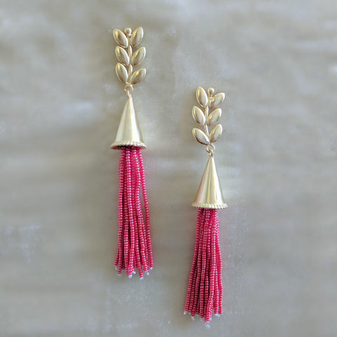 red long tassel party cocktail earrings
