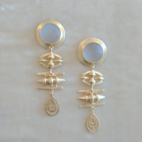 gold precious stone handcrafted big earrings