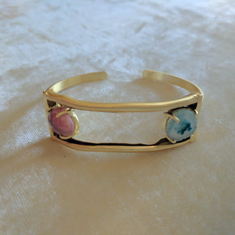 red and blue semi precious stone handcrafted bangle bracelet