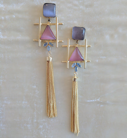 pink and purple semi precious stone handcrafted gold tassel big earrings