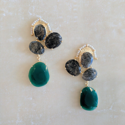 black and green semi precious stone handcrafted big earrings