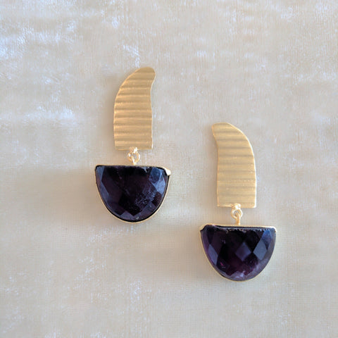 purple precious stone handcrafted gold earrings