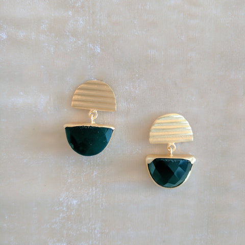 green precious stone handcrafted earrings