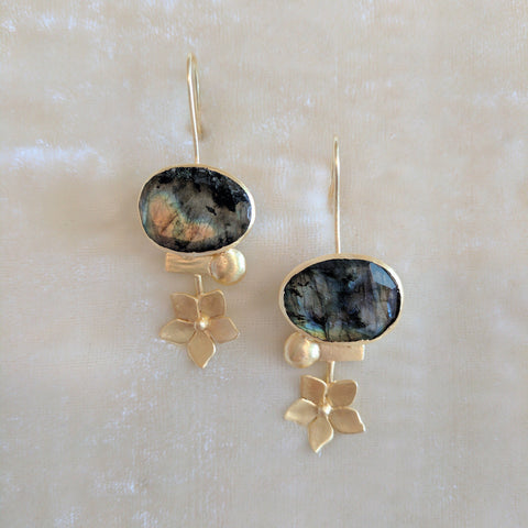 multicolor precious stone handcrafted floral earrings