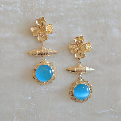 blue semi precious stone handcrafted floral earrings