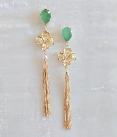 green semi precious stone handcrafted floral tassel earrings