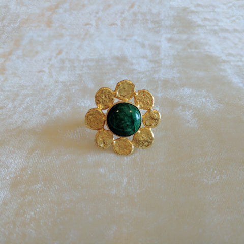 green semi precious stone handcrafted floral big ring