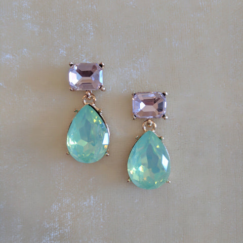 pink and green stone party earrings