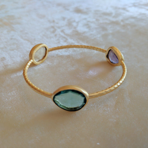 green precious stone handcrafted bangle