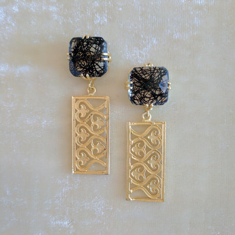 black semi precious stone handcrafted earrings