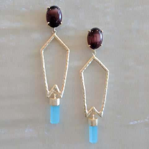 pink and blue handcrafted semi precious stone geometric earrings