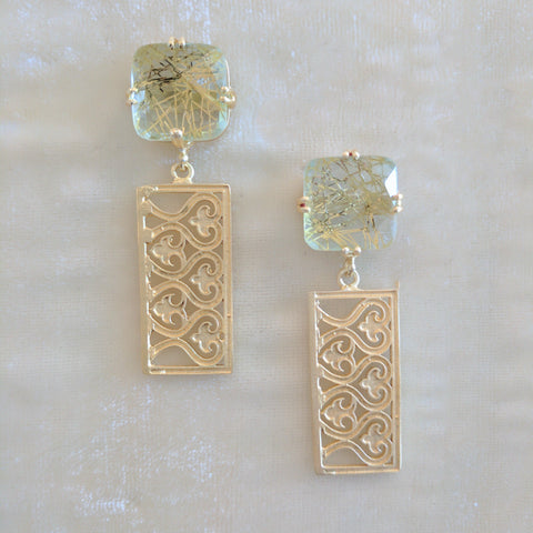 gold semi precious stone handcrafted earrings