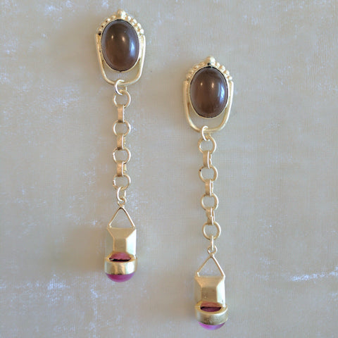 pink semi precious stone handcrafted long earrings