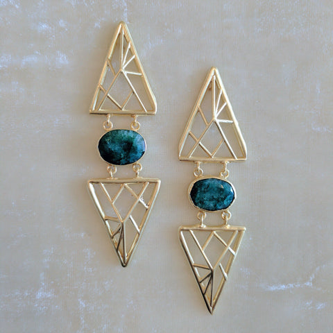 green semi precious stones handmade geometric earrings