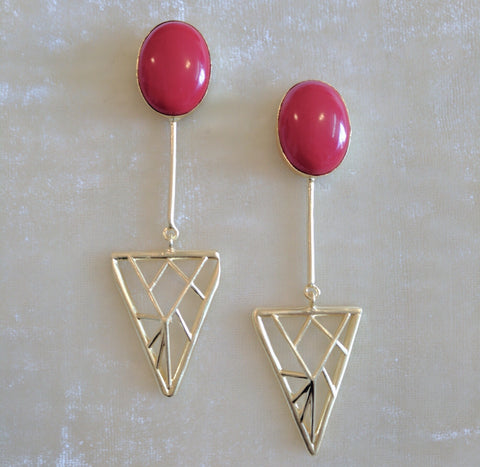 red semi precious stone handcrafted geometric earrings
