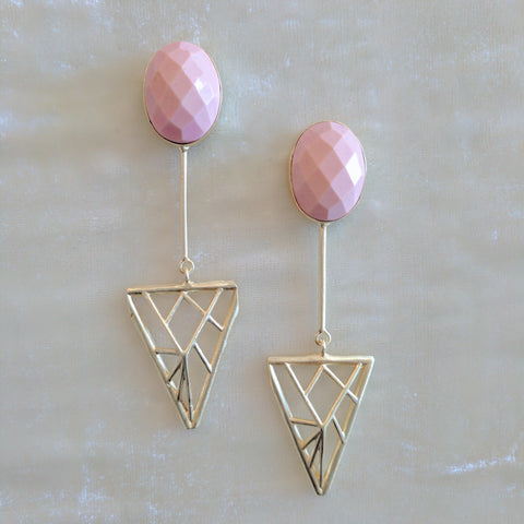 peach semi precious stone handcrafted geometric big earrings