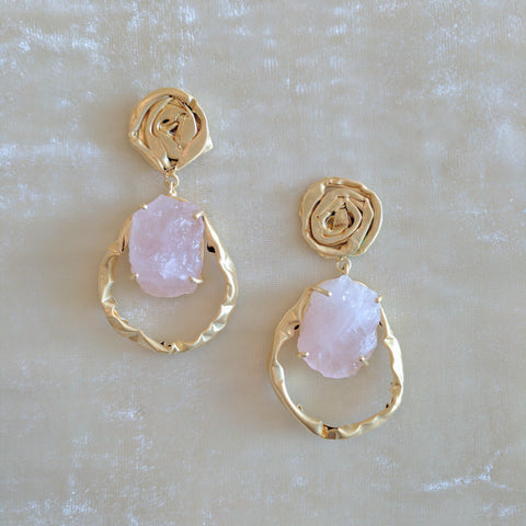 pink semi precious stone handcrafted floral designer earrings