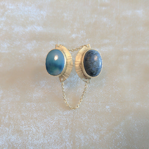 blue semi precious stone handcrafted ring