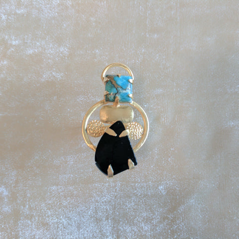 black and blue semi precious stone handcrafted designer ring