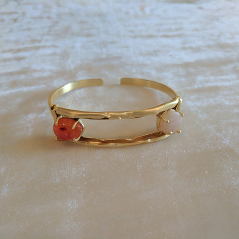 orange and white semi precious stone handcrafted bangle bracelets
