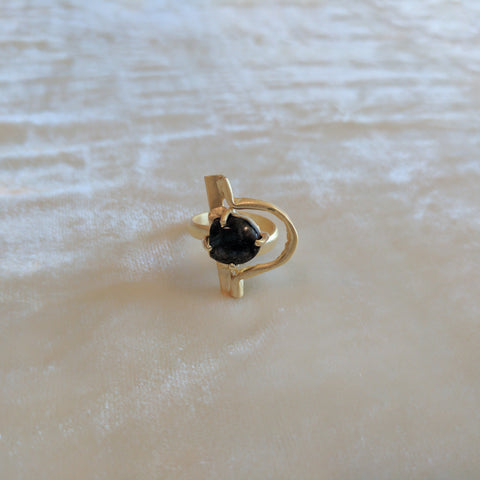 black precious stone handcrafted matt gold ring