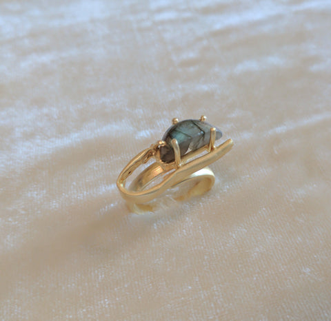 grey semi precious stone handcrafted gold ring