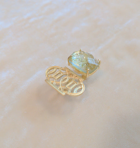 gold semi precious stone handcrafted ring