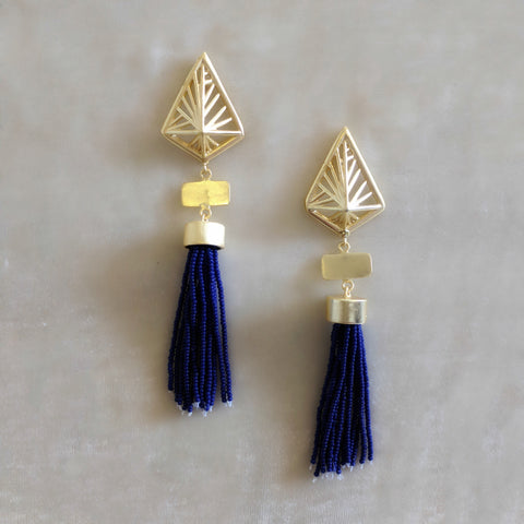 blue handcrafted tassel earrings