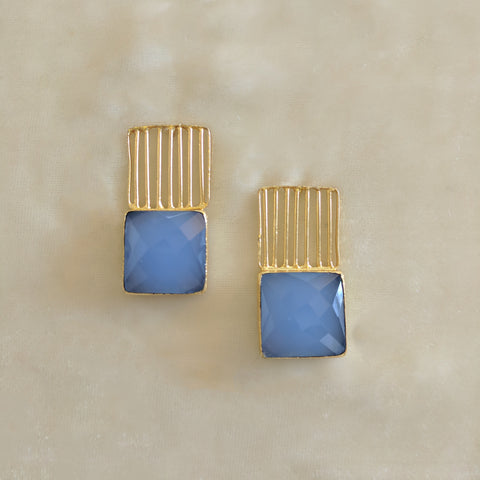 blue precious stone handcrafted party earrings