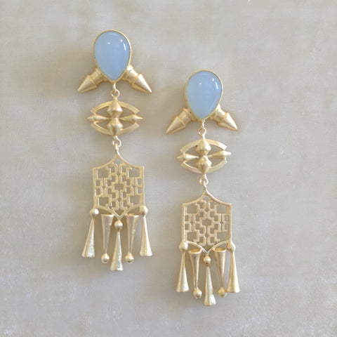 light blue precious stone handcrafted big earrings