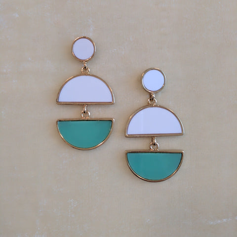 white and green casual earrings