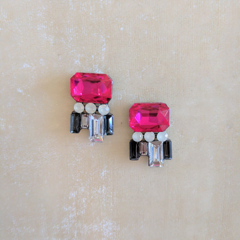 bright pink small stone party earrings