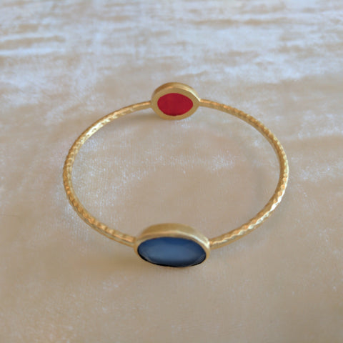 blue and red semi precious stone handcrafted bangle bracelets