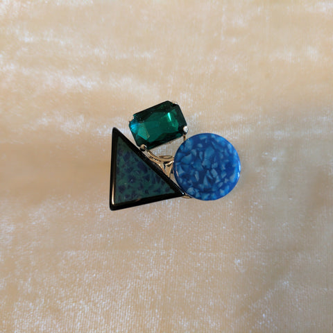 green and blue multicolor stone ring