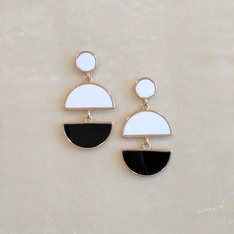 black and white long casual earrings