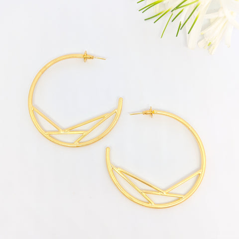 Gold designer oversized hoops