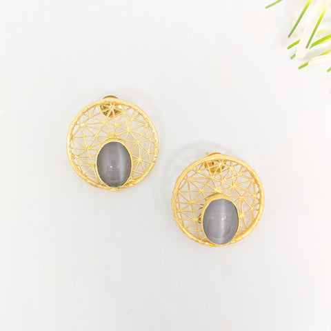 handcrafted filigree stud earrings with semi-precious stones