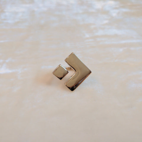 geometric gold casual ring