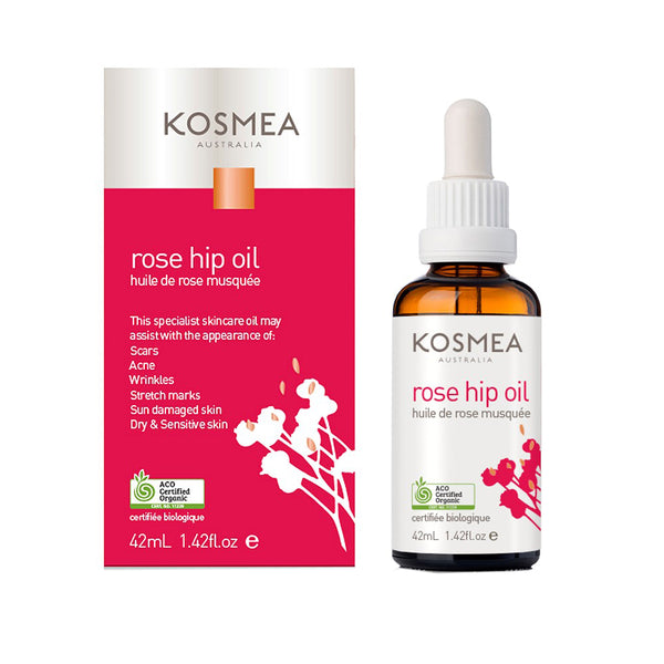 Kosmea Australia Large Size 42ml Certified Organic Rose Hip Oil with new packaging