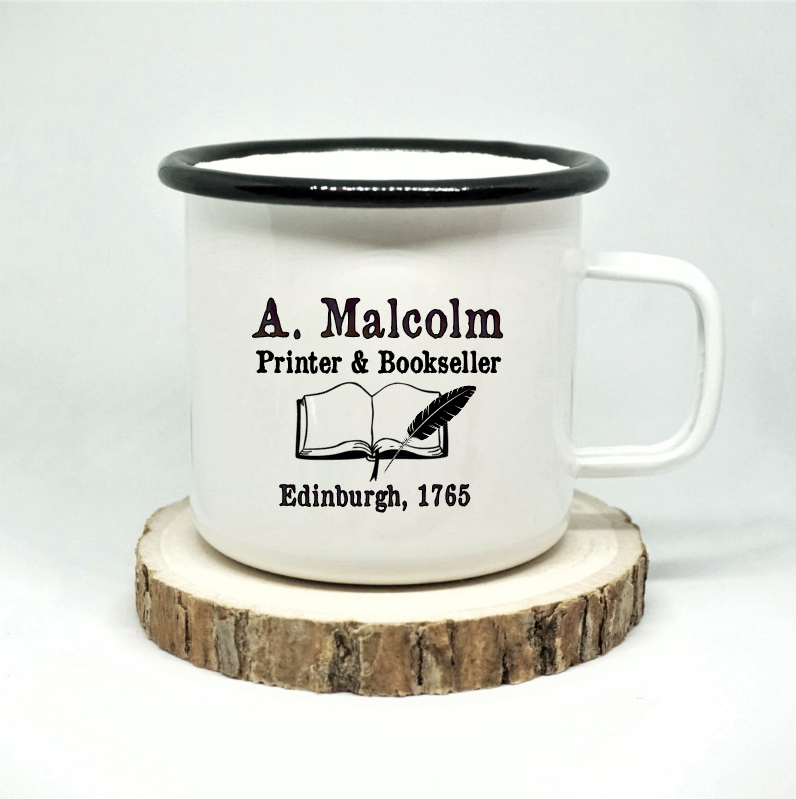 A Malcolm, Printer and Bookseller Enamel Mug