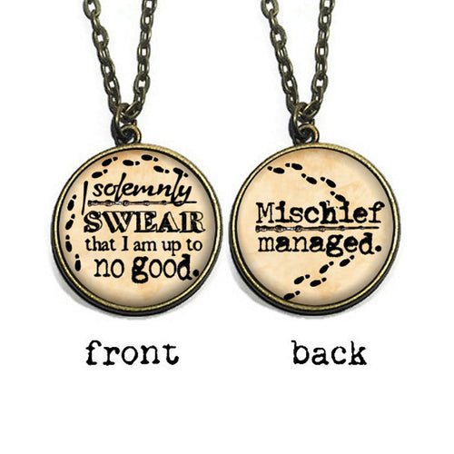 Double Sided 'Mischief Managed' Necklace